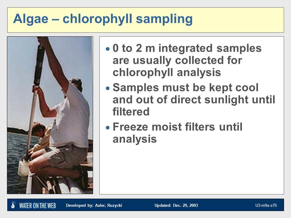 Algae – chlorophyll sampling