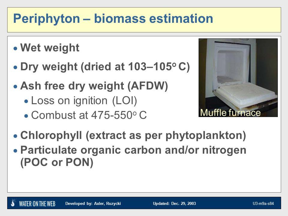 Periphyton – biomass estimation