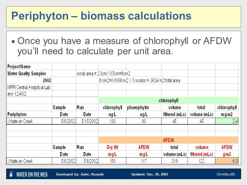 Periphyton – biomass calculations