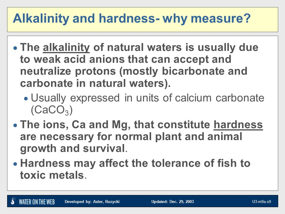 Alkalinity and hardness- why measure