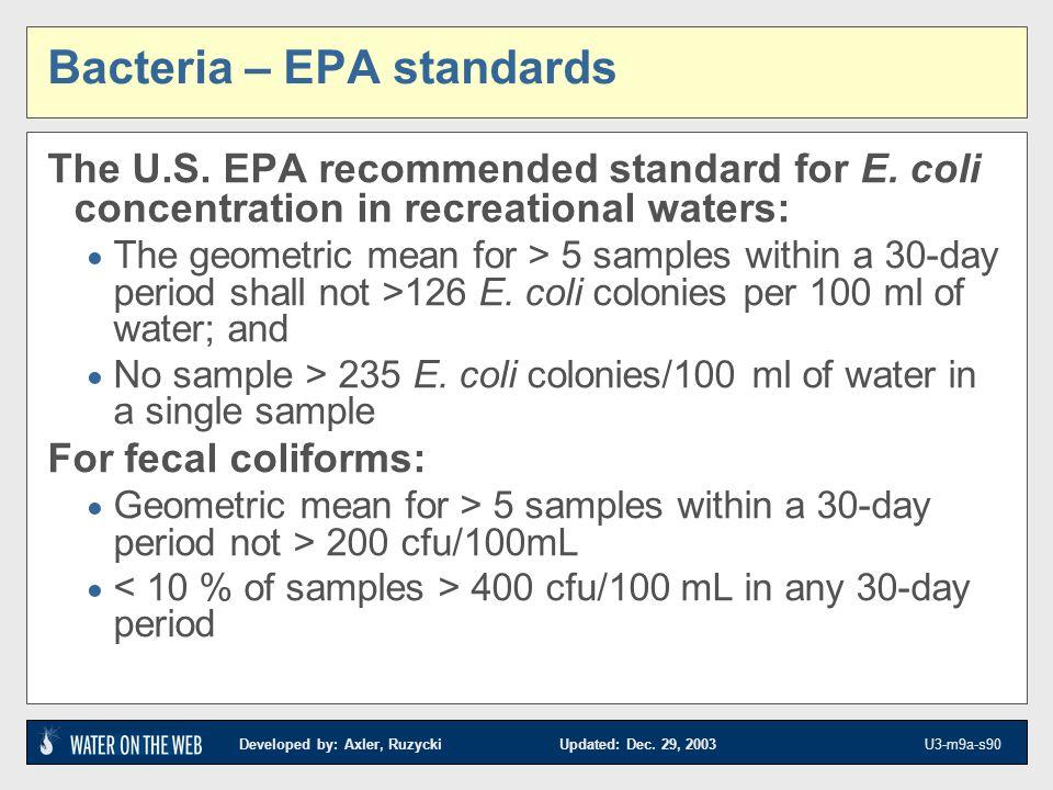 Bacteria – EPA standards