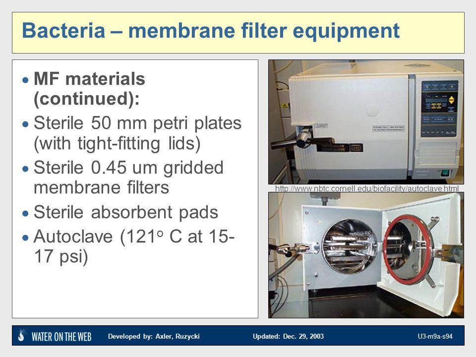 Bacteria – membrane filter equipment