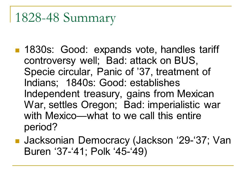 1828-48 Summary