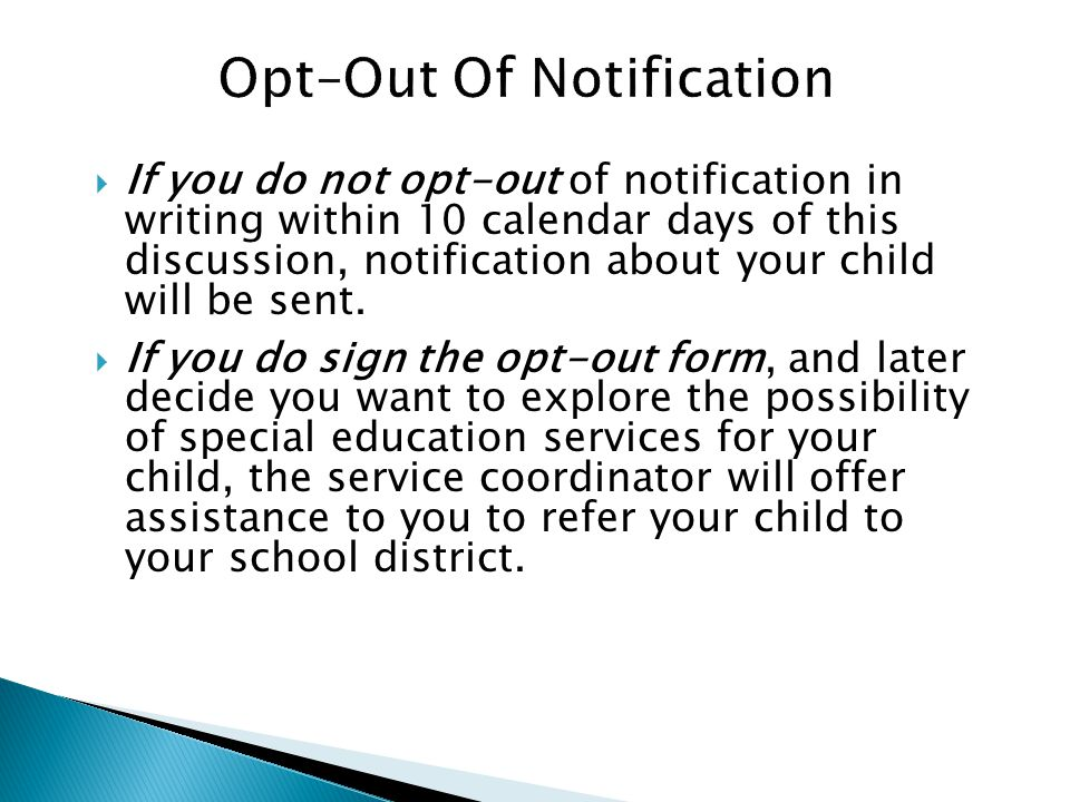 Opt–Out Of Notification