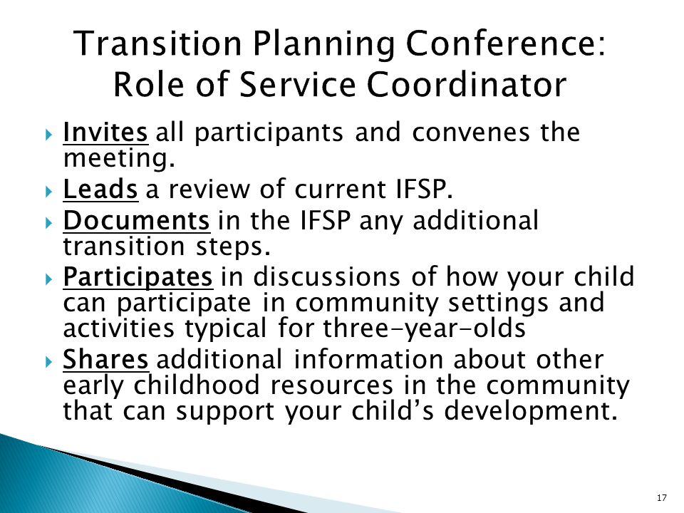 Transition Planning Conference: Role of Service Coordinator