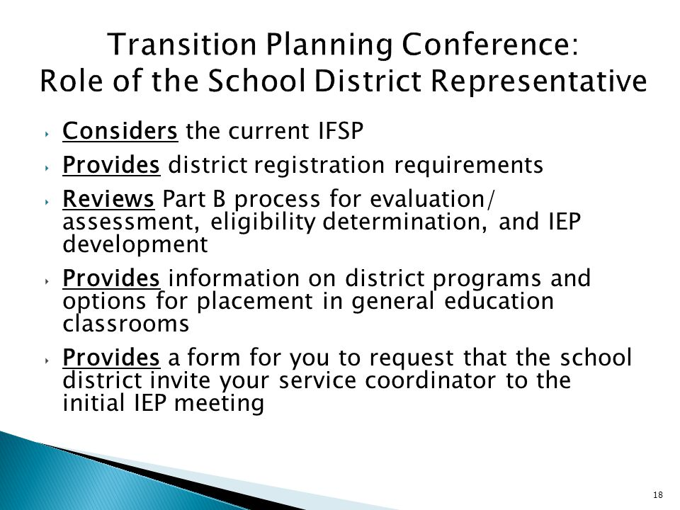 Transition Planning Conference: Role of the School District Representative