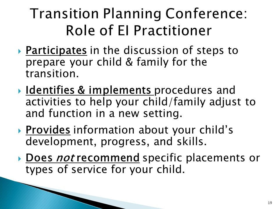 Transition Planning Conference: Role of EI Practitioner
