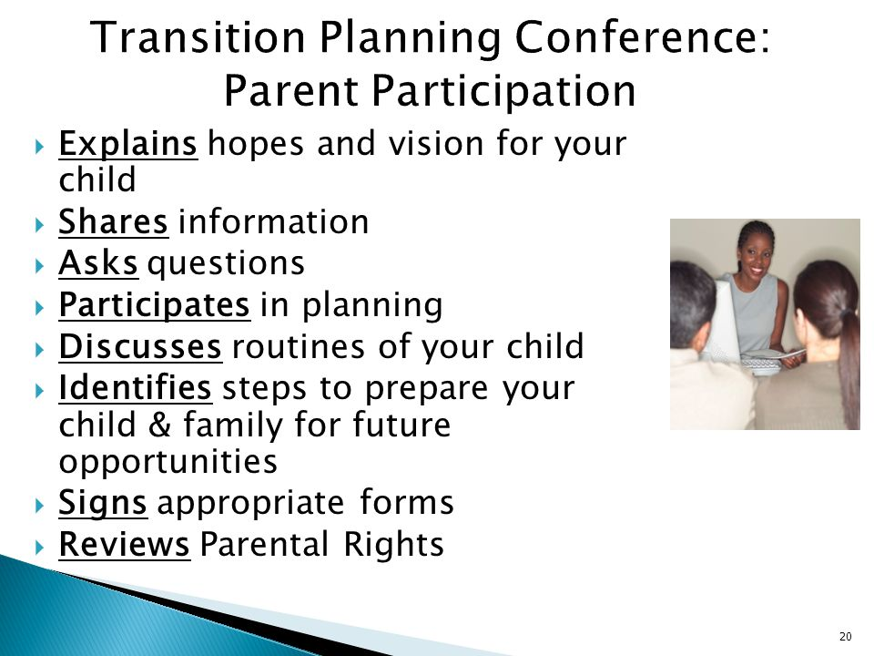Transition Planning Conference: Parent Participation