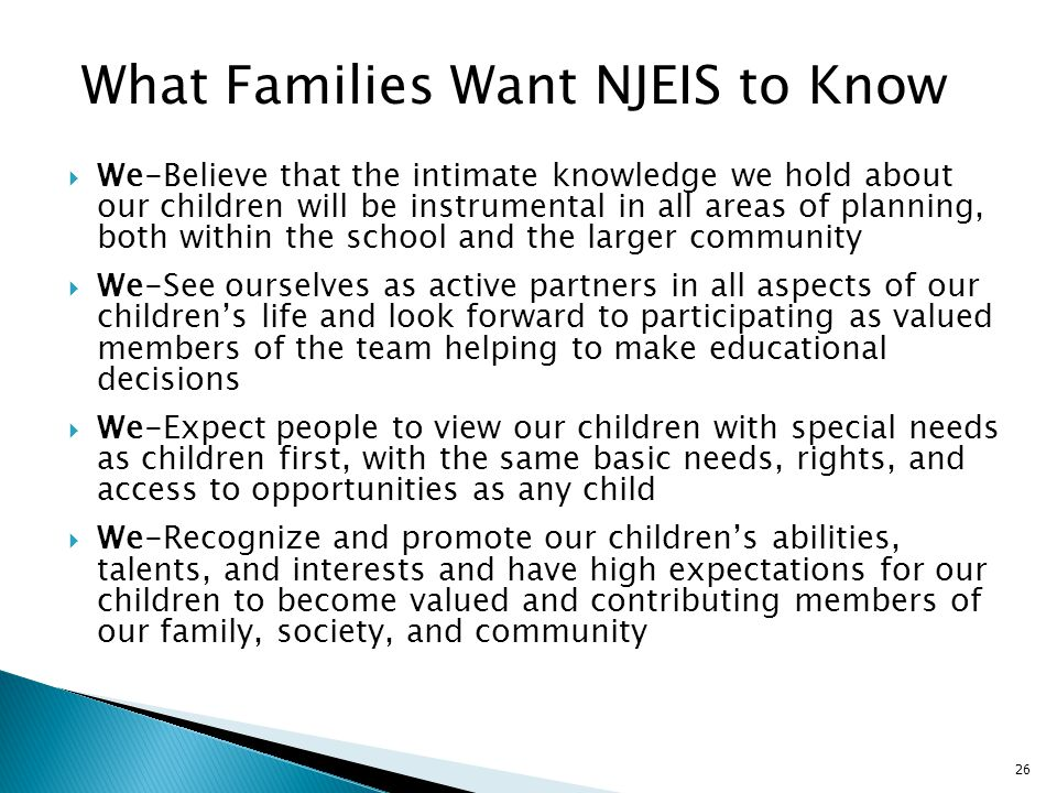 What Families Want NJEIS to Know