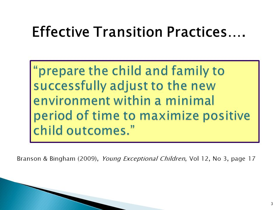 Effective Transition Practices….