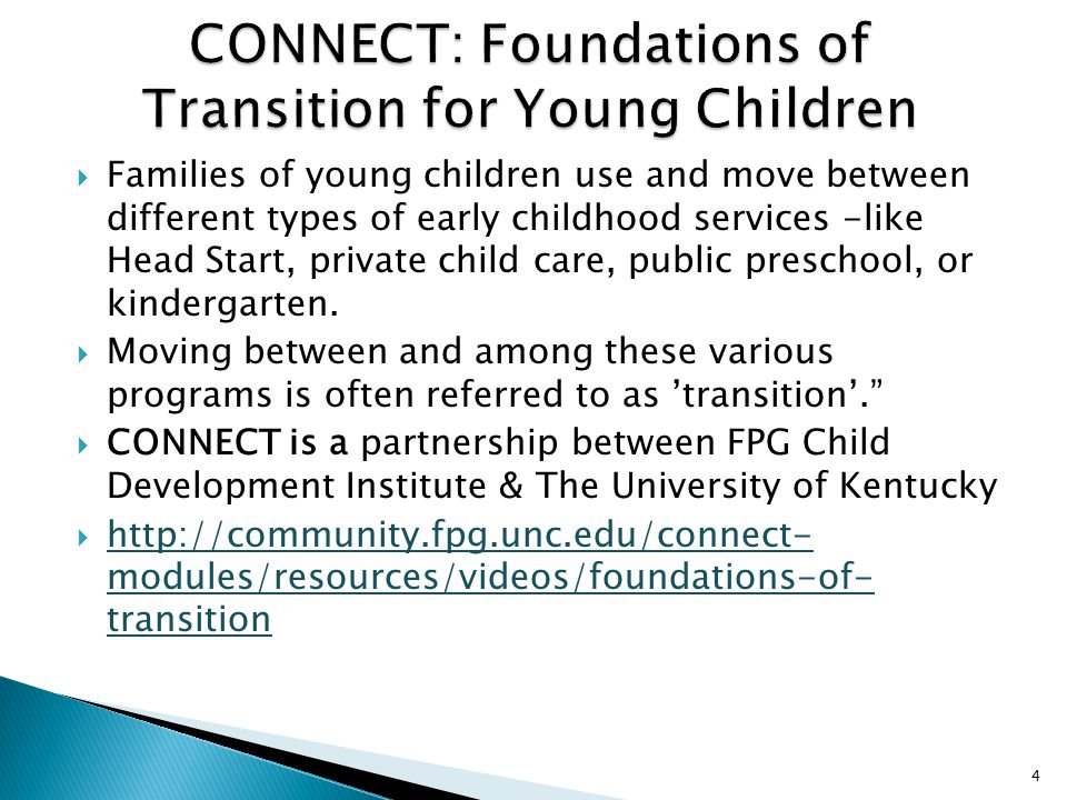 CONNECT: Foundations of Transition for Young Children