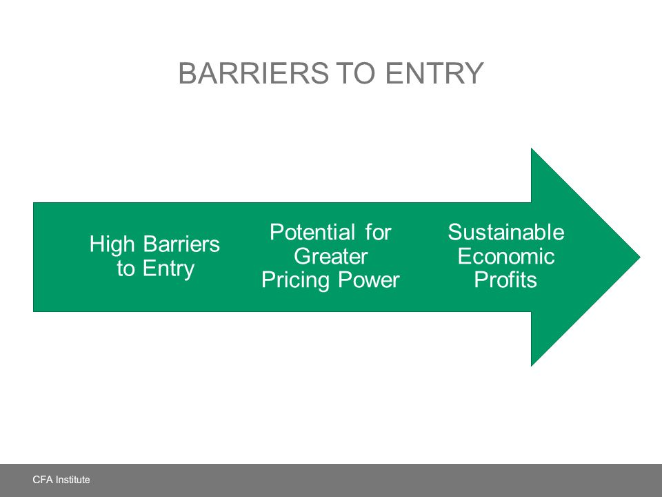 Barriers to Entry High Barriers to Entry. Potential for Greater Pricing Power. Sustainable Economic Profits.