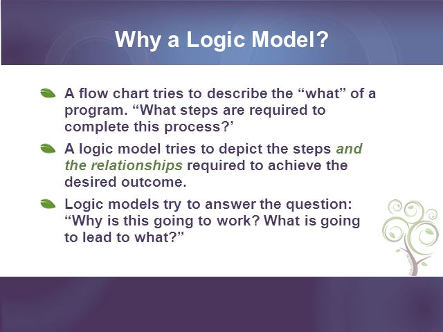 Why a Logic Model A flow chart tries to describe the what of a program. What steps are required to complete this process '