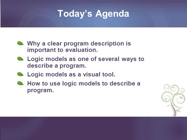 Today's Agenda Why a clear program description is important to evaluation. Logic models as one of several ways to describe a program.