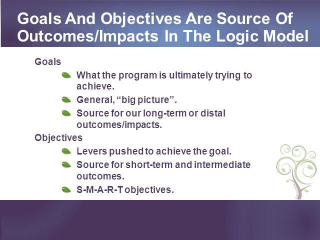 Goals And Objectives Are Source Of Outcomes/Impacts In The Logic Model