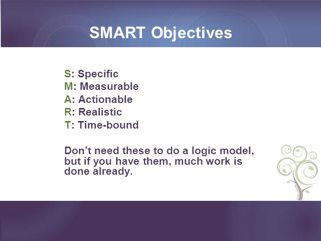 SMART Objectives S: Specific M: Measurable A: Actionable R: Realistic