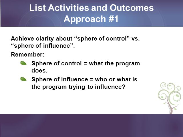 List Activities and Outcomes Approach #1