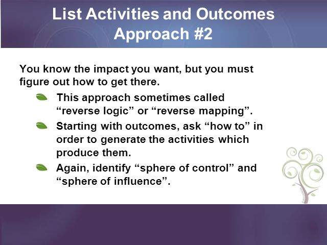 List Activities and Outcomes Approach #2