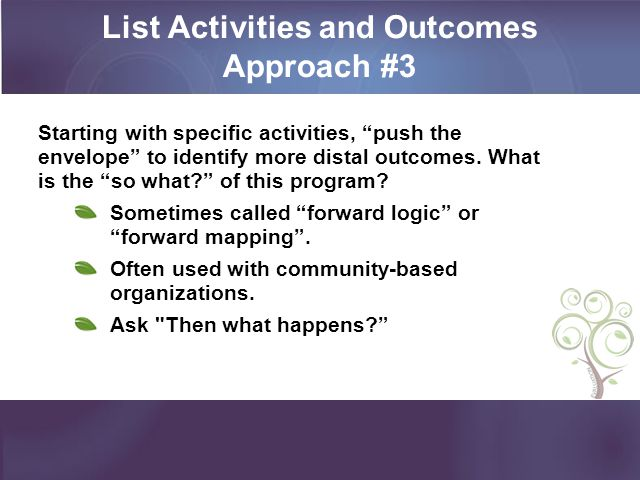 List Activities and Outcomes Approach #3