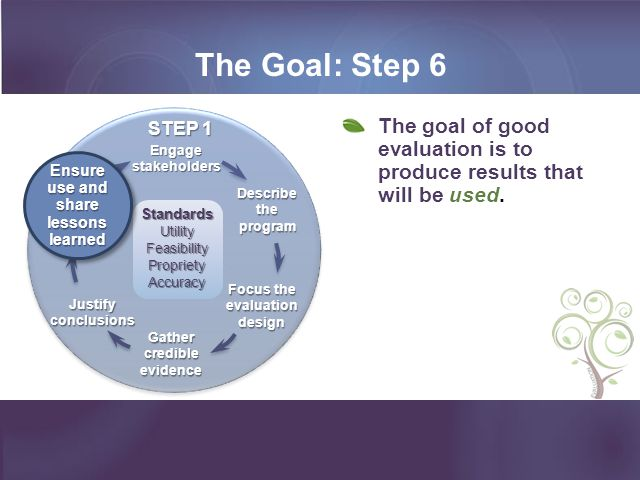 The Goal: Step 6 Ensure use and share lessons learned. Gather credible evidence. Engage stakeholders.