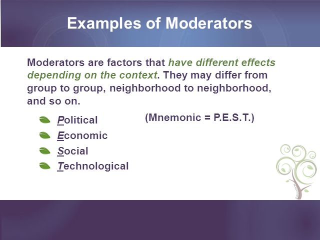 Examples of Moderators