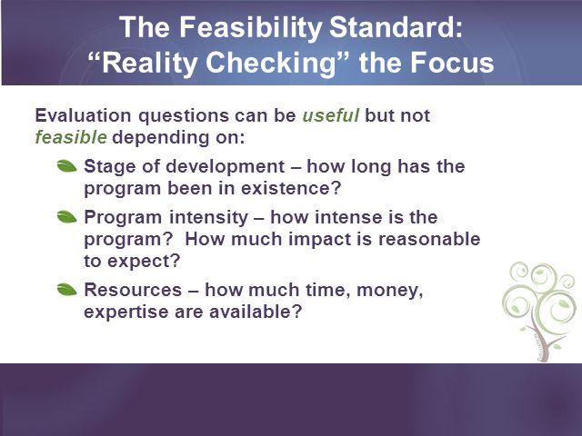 The Feasibility Standard: Reality Checking the Focus