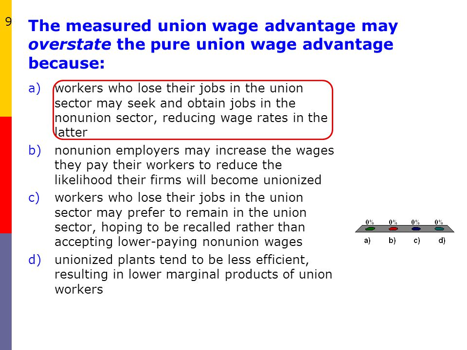 9 The measured union wage advantage may overstate the pure union wage advantage because: