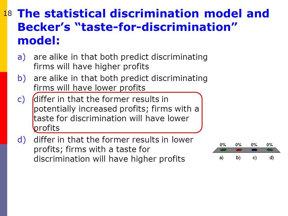 18 The statistical discrimination model and Becker's taste-for-discrimination model: