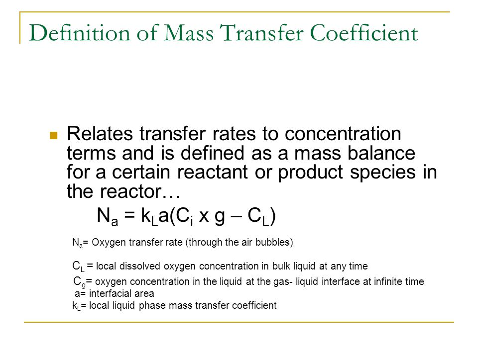 Definition of Mass Transfer Coefficient