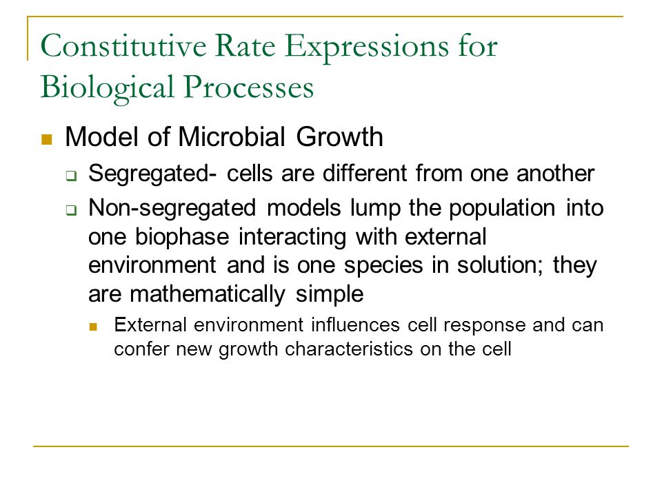 Constitutive Rate Expressions for Biological Processes