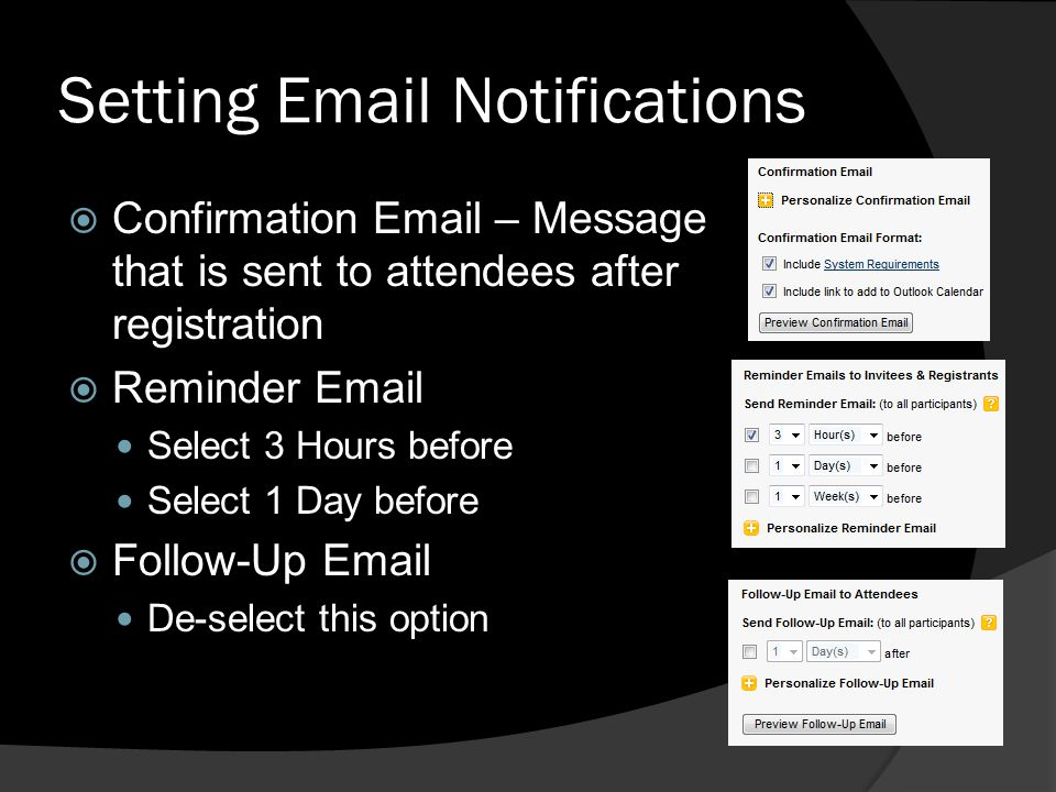 Setting Email Notifications