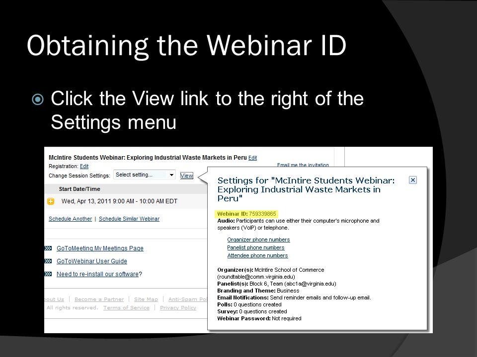 Obtaining the Webinar ID