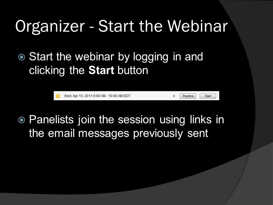 Organizer - Start the Webinar