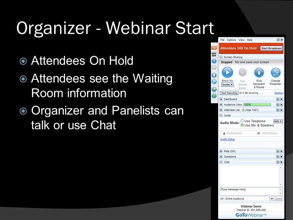 Organizer - Webinar Start