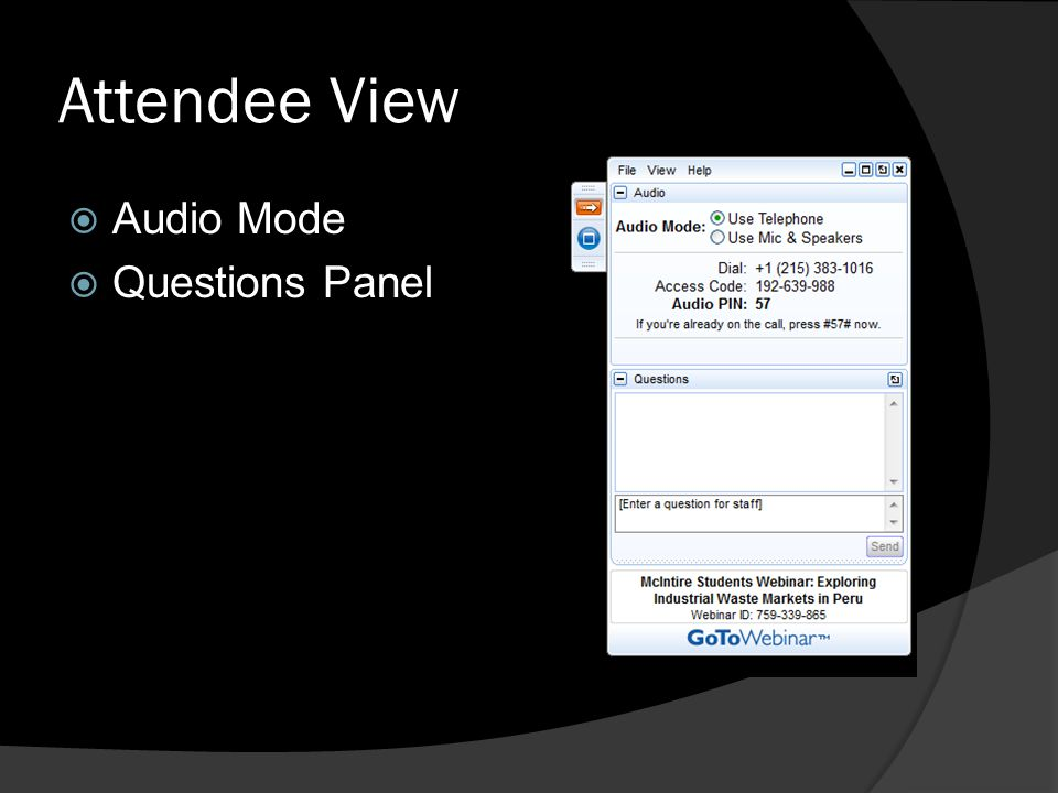 Attendee View Audio Mode Questions Panel