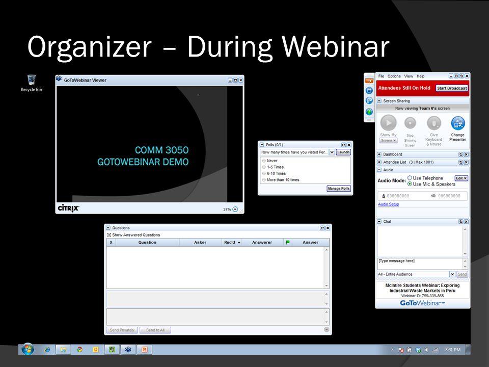 Organizer – During Webinar