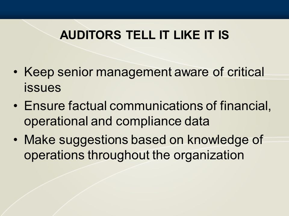 Auditors Tell It Like It Is