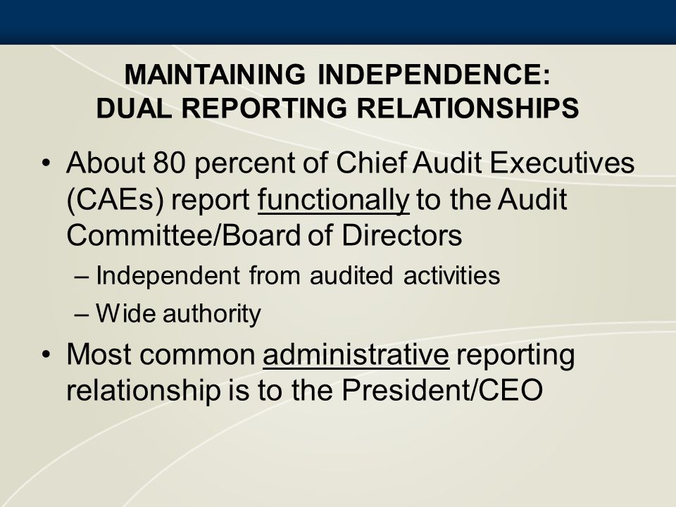 Maintaining Independence: Dual Reporting Relationships