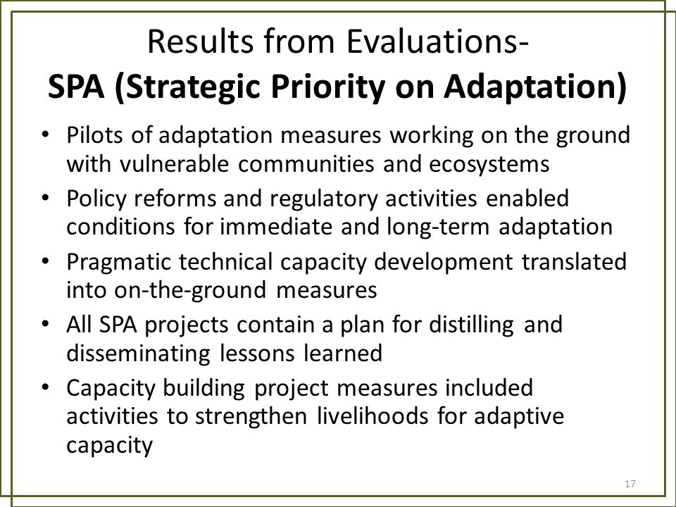 Results from Evaluations- SPA (Strategic Priority on Adaptation)