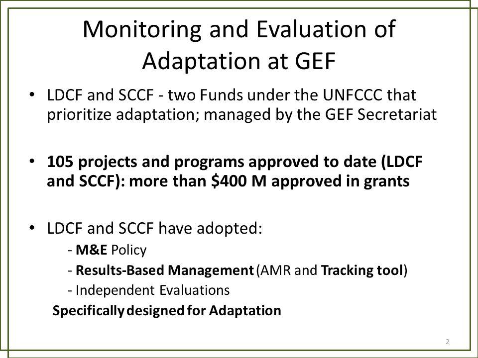 Monitoring and Evaluation of Adaptation at GEF