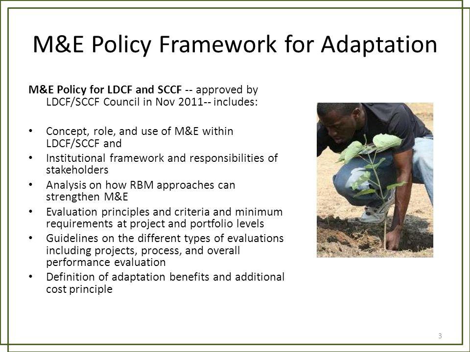 M&E Policy Framework for Adaptation