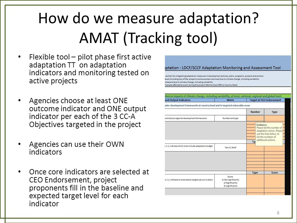 How do we measure adaptation AMAT (Tracking tool)