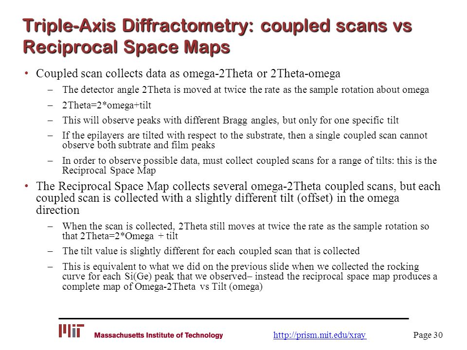 Triple-Axis Diffractometry: coupled scans vs Reciprocal Space Maps