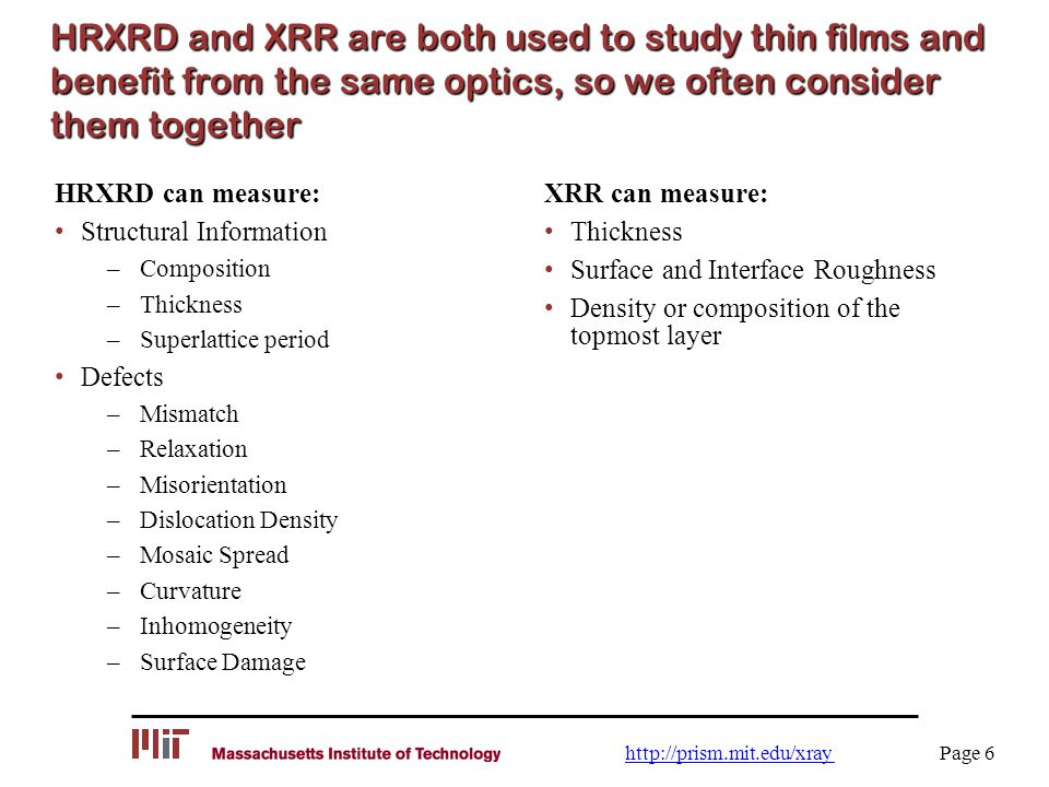 HRXRD and XRR are both used to study thin films and benefit from the same optics, so we often consider them together