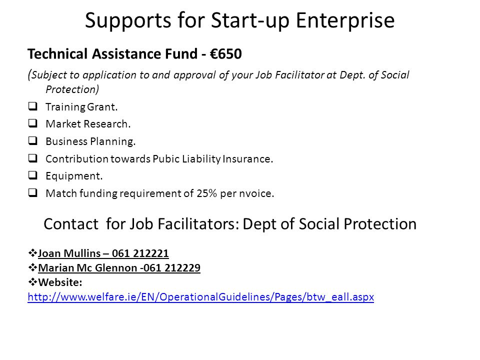 Supports for Start-up Enterprise