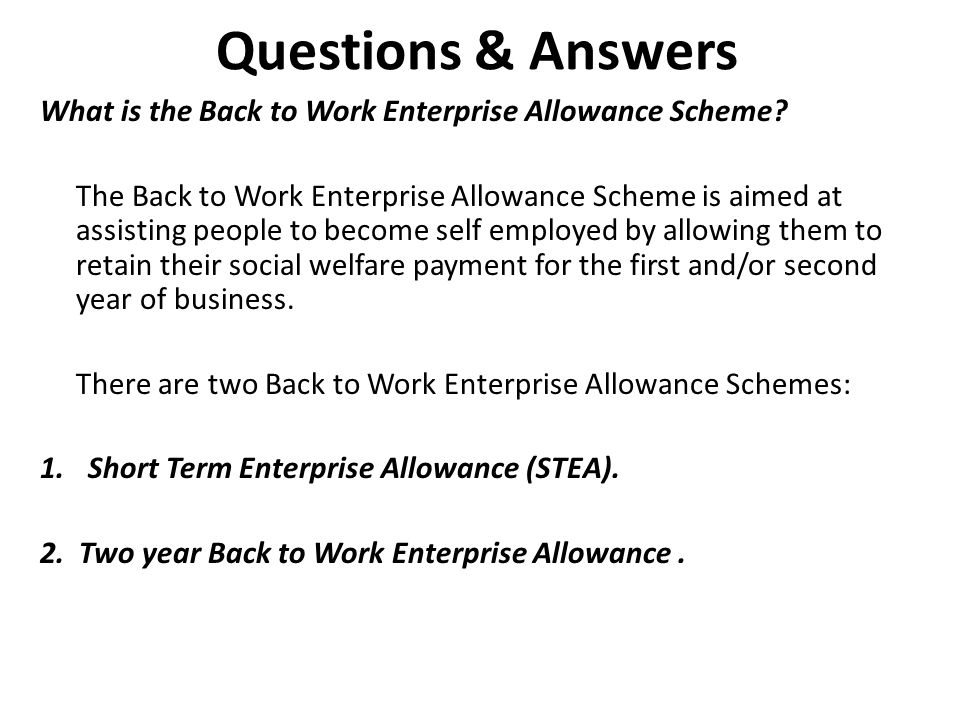 2. Questions & Answers. What is the Back to Work Enterprise Allowance Scheme
