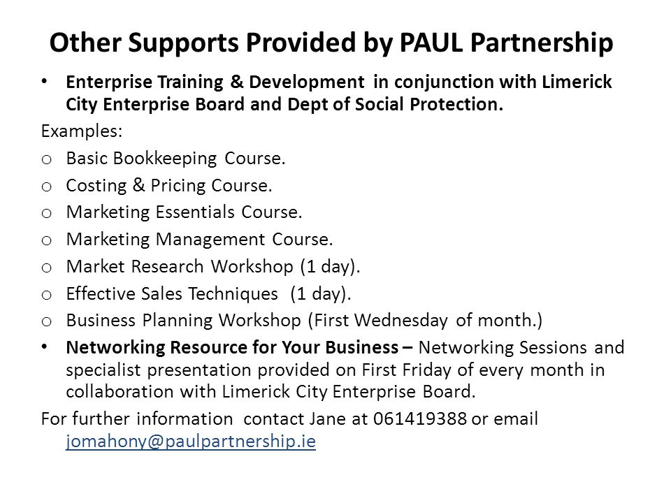 Other Supports Provided by PAUL Partnership