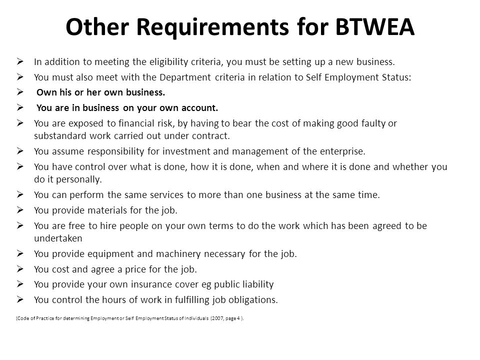 Other Requirements for BTWEA