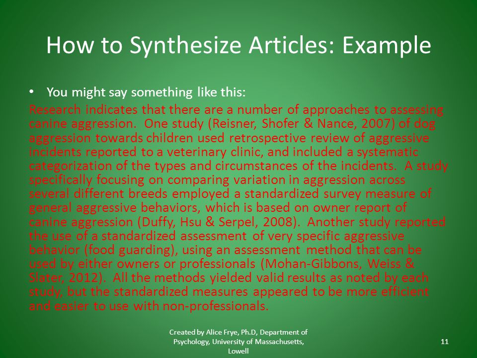 How to Synthesize Articles: Example