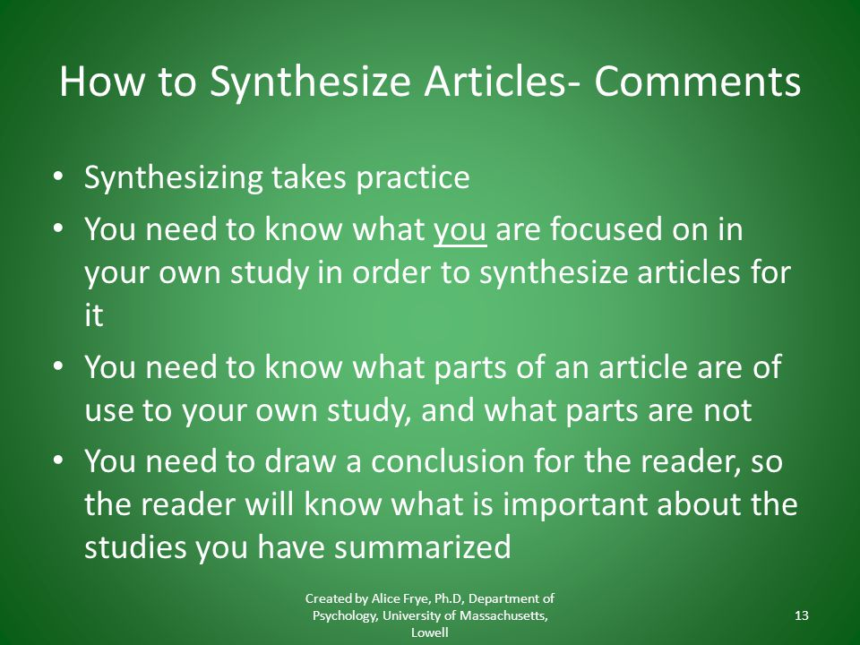 How to Synthesize Articles- Comments